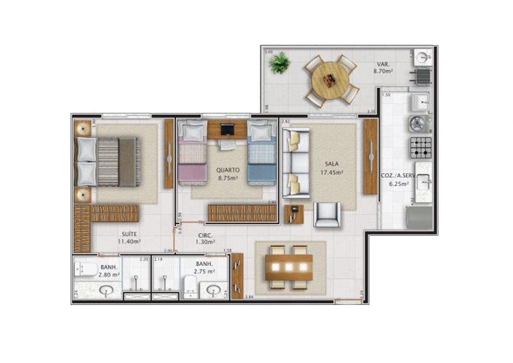 Apartamento Tipo 2 Quartos Coluna 3 Tipo 1º ao 8º - Bloco 1 e 2 Área Privativa: 64,10 m2